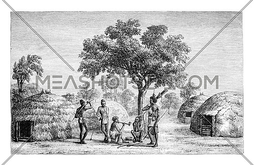 Tribesmen of Mandombe in Congo, Central Africa, drawing by Monteiro, vintage engraved illustration. Le Tour du Monde, Travel Journal, 1881