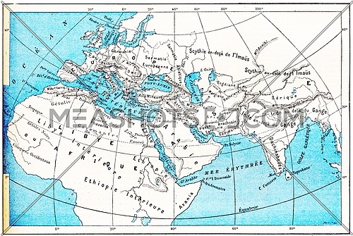 Ancient World Map of Europe, Asia and Africa, vintage engraved illustration. Dictionary of Words and Things - Larive and Fleury - 1895