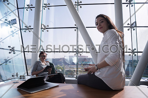 young female executives having a meeting in a bright modern office