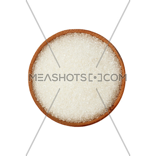 Close up one wooden bowl full of white sugar isolated on white background, elevated top view, directly above