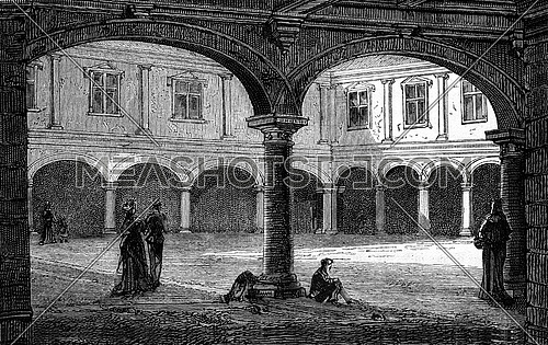 The Court of the palace Granvelle, Besancon, vintage engraved illustration. Magasin Pittoresque 1877.
