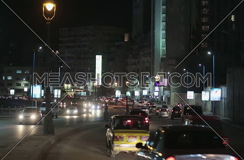 Fixed shot for traffic in Kornich Street at Alexandria at night