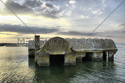 A house sunk in the sea in Fayoum city, Egypt