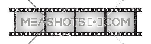 Close up six empty frames of classical 35 mm film strip with vignette isolated on white background