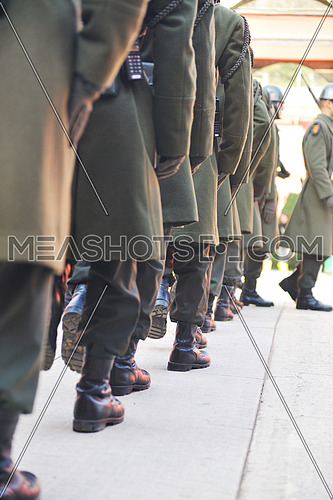 soldiers boot in row at dolmabahche guard army military service