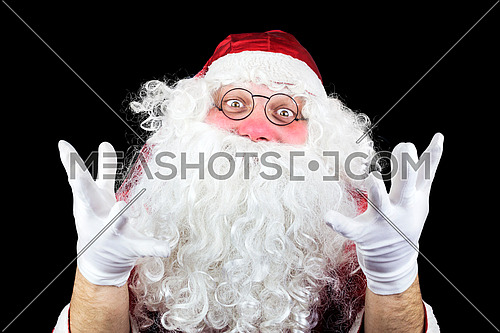 Santa Claus in the Christmas Night Isolated On Black Background