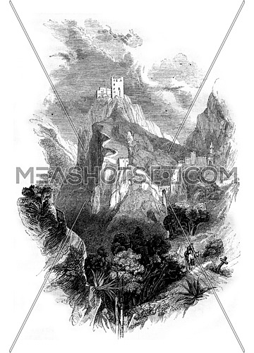 Fort of Lucca, Spain, vintage engraved illustration. Magasin Pittoresque 1843.