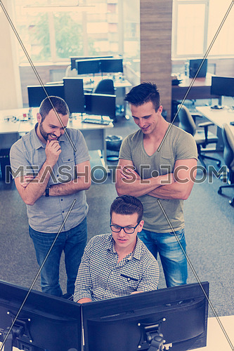 startup business people group working as team to find  solution to problem