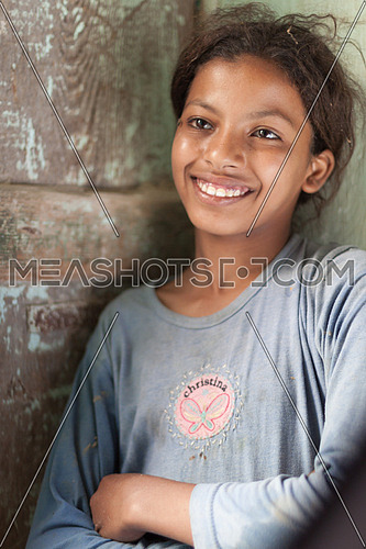A smiling young girl whom I met in the street of Tunis Village in Fayoum, Egypt
