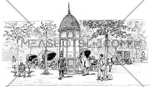 Station car instead, vintage engraved illustration. Paris - Auguste VITU – 1890.