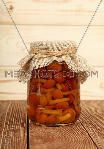 Close up of one glass jar of pickled small brown honey fungus Armillaria mushrooms with canvas top decoration and twine on brown wooden table over white background, low angle side view