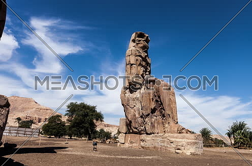 Jib Up shot for statue of  Pharaoh Amenhotep III in loxur at day