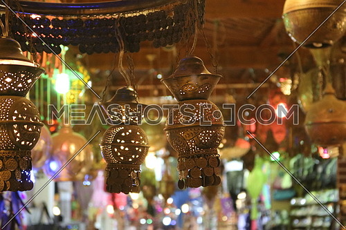 Oriental Arabic copper lantern hanging from ceiling