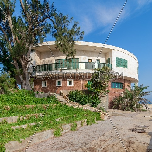 Alexandria, Egypt - April 29 2018: External shot of an old house by the Mediterranean Sea at Montaza park, known as the villa of Mr Hussein El Shafei late vice president of Egypt