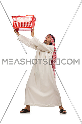 Arab man doing shopping isolated on white
