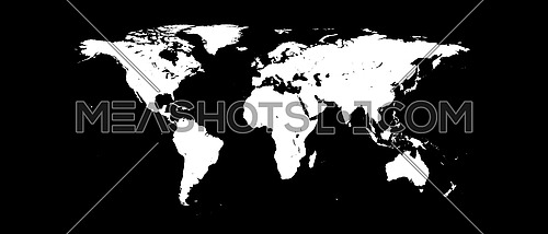 World Map White Silhouette Isolated on Black Background 3D illustration