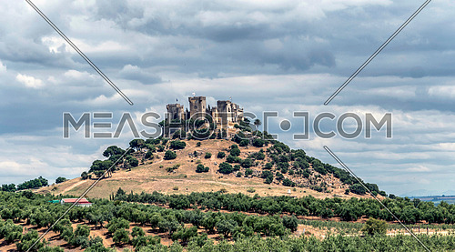 Almodovar del Rio, Córdoba, Spain - June 9, 2018: It is a fortress of Moslem origin, it was Roman Castro and the current building has definitely Berber origin, of the year 760, scenario of the American production company HBO, for the series
