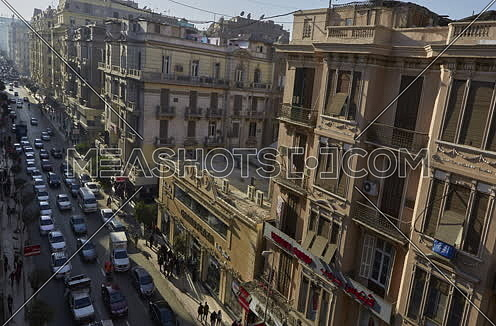 Fixed Shot for Traffic at Talat Harb Street at Cairo at Day