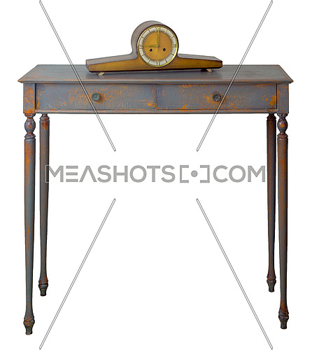 Vintage Furniture - Old style desktop clock on the top of retro wooden vintage table with two drawers painted in grey and orange isolated on white, including clipping path