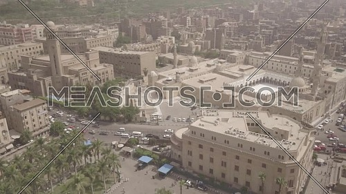 Reveal Shot for Al-Azhar Mosque, El Azhar Senate bulding and Al-Hussein Mosque in Cairo by day