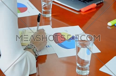 young business woman in meeting writing