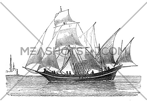 Sacolève aware closer, saw the beam, vintage engraved illustration. Magasin Pittoresque 1842.