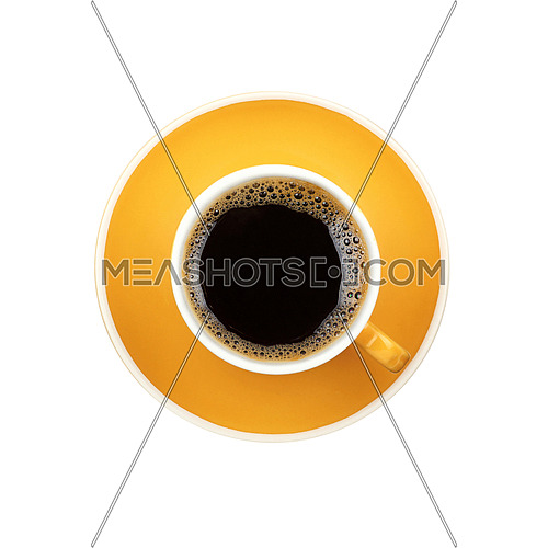 Full Americano black filtered coffee in small yellow cup with saucer isolated on white background, elevated top view, close up