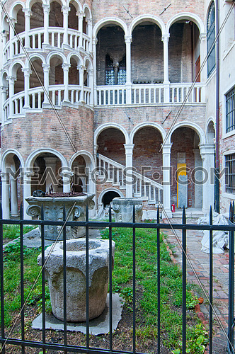 "This Renaissance spiral staircase, built around 1499 by Giovanni Candi, is an elegant structure that is designed like a ""bovolo"" Venetian dialect for snail"