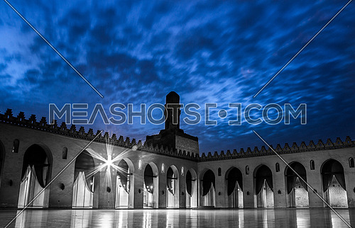 Al-Hakim bi-Amr Allah Mosque in Al - Moez Street at night