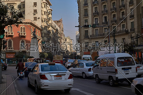 Long Shot for Traffic at Mohammed Farid Square at Cairo at Day