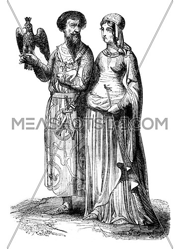 Lord and noble lady, vintage engraved illustration. Magasin Pittoresque 1844.