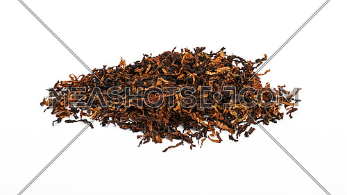Close up pile of ready rubbed long coarse cut pipe tobacco blend, isolated on while background, high angle view