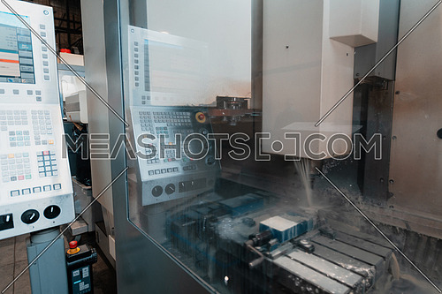 laser metal processing on the background of a metallurgical plant. Production of finished parts for the concept of automotive production. High quality photo