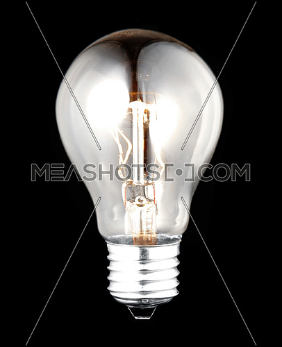 electric bulb lightened isolated on black background