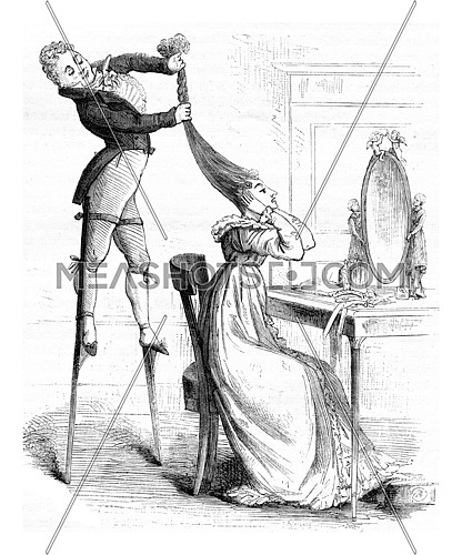 One must suffer to be beautiful, print extracted Album of fashion, vintage engraved illustration. Magasin Pittoresque (1882).