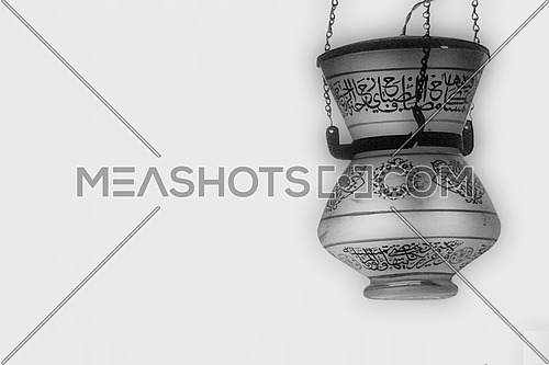 Black and White old arabic lantern lamp with arabic calligraphy