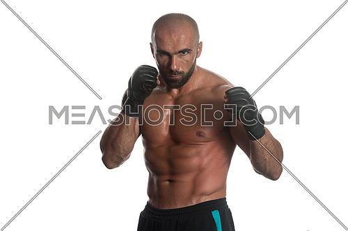 Muscular Sports Guy Boxing Workout Over White Background Isolated