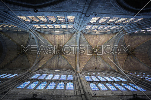 Avila, SPAIN - 10 august 2015: Inside view of the Cathedral in Avila, a Romanesque and Gothic church in the South of Old Castile in Spain, considered by its age (12th century) as one of the first two Gothic cathedrals in Spain