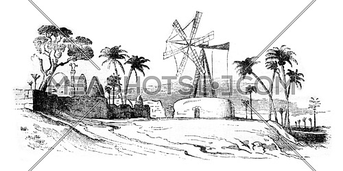Agriculture in Egypt, Egyptian mill, vintage engraved illustration. Magasin Pittoresque 1841.