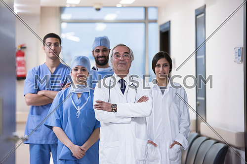 portrait of middle eastern team of doctors in a large modern clinic