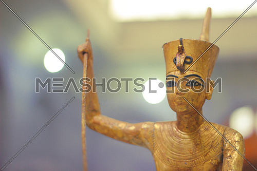 ancient statue in the Egyptian museum shows the ancient man