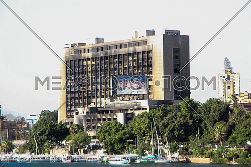 El Watany Party Building after it got burnt during the 25th Jan Revolution