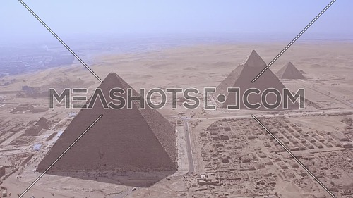 Reveal Shot Drone for The Great Pyramids of Giza at day