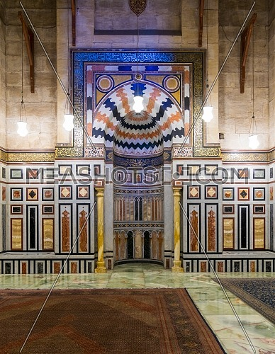 Cairo, Egypt - December 16, 2017: Interior of the tomb of the Reza Shah of Iran, Al Rifaii Mosque (Royal Mosque), located in front the Cairo Citadel, constructed between 1869 and 1912
