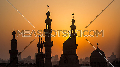 Minarets at sunset in Cairo