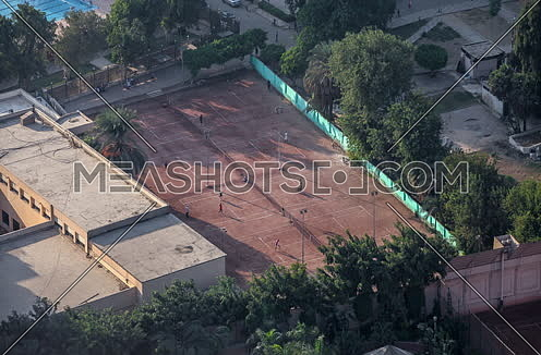 Fixed top shot for tennis field at Gazeera Youth club at day