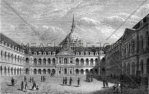 Louis XIV, Courtyard of the Hotel des Invalides, vintage engraved illustration. Magasin Pittoresque 1847.