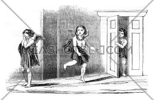 Antique painting discovered at Herculaneum in 1748, vintage engraved illustration. Magasin Pittoresque 1845.