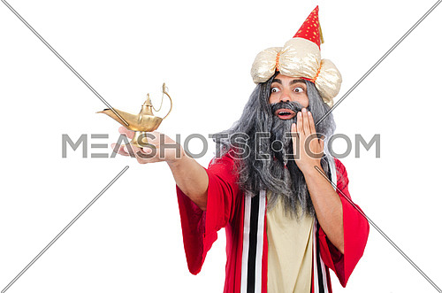 Old wizard with lamp isolated on white