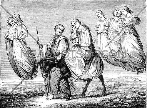 The Flight into Egypt, vintage engraved illustration. Magasin Pittoresque 1847.